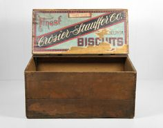 Antique Late 1800's CrosierStauffer Biscuit Box  by HoofAndAntler, $135.00 Hat Boxes, Pretty Box, Vintage Wood, Tins, Ancestry, Toy Chest, Biscuit, Advertising, Victorian