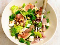 Salade met vijgen en geitenkaas. Ook lekker met walnoten ipv hazelnoten