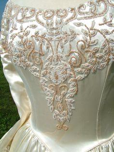 Vintage Ivory slipper satin wedding dress