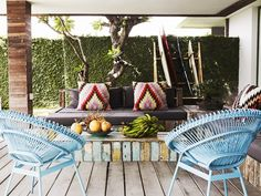 "At Home: Lindy And Michael Klim. Lindy loves the ""Mexican feel and festive vibe"" of the open-air lounge, which doubles as a meeting area for their beauty business. Click image for more and to Get the Look. Photography: Prue Ruscoe"