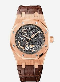 Audemars Piguet Royal Oak Automatic, Anthracite Skeleton Dial – Rose Gold on Strap – Des Groseillie Jewelry Audemars Piguet Watches, Audemars Piguet Royal Oak, Skeleton Watches, Watch Sale, Luxury Watches, Watch Bands, Gold Watch, Watches For Men, Men's Watches