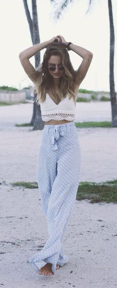 #summer #fashion / crochet + polka dot pants