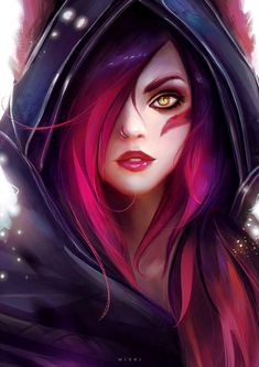 Portrait fan art of Xayah from League of Legends. Lol League Of Legends, Katarina League Of Legends, League Of Legends Characters, Fantasy Kunst, Anime Fantasy, Fantasy Girl, Cool Anime Girl, Anime Art Girl, Awesome Anime