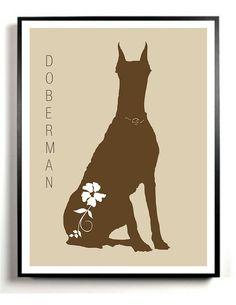 Doberman Pinscher Dog Art Print Modern  Wedding by DIGIArtPrints, $4.50