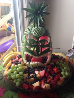 Carved watermelon tiki man