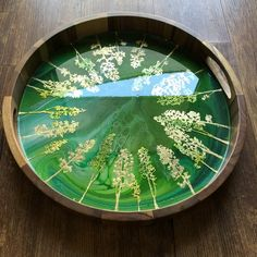 Resin Pour, Resin Jewelry Making, Diy Resin Art, Serving Tray Wood, Round Tray, Acacia Wood, Clay Art, Trays, Paintings