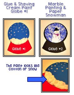 Snow Globe Craftivity- add a writing portion to the base of the globe and have a cute bulletin board display.