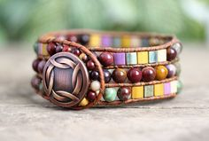 Mookaite Beaded Leather Cuff Bracelet 3 Row door BearCreekCollection