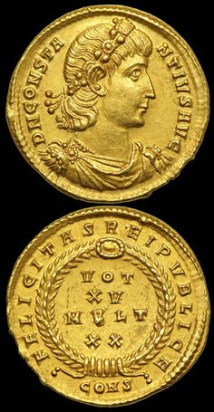 Roman Gold Solidus of Constantine (struck 337-340 AD.