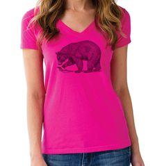Women's Bear Vneck T-Shirt - Juniors Fit Vintage Illustration