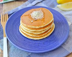 Lemon Poppy Seed Pancakes with a secret ingredient for added protein! Get the easy recipe on RachelCooks.com!