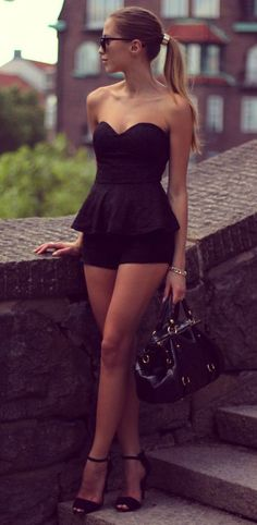 Black Peplum Romper. Summertime fashion. ::M::