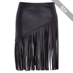 River Island Black fringed leather-look skirt