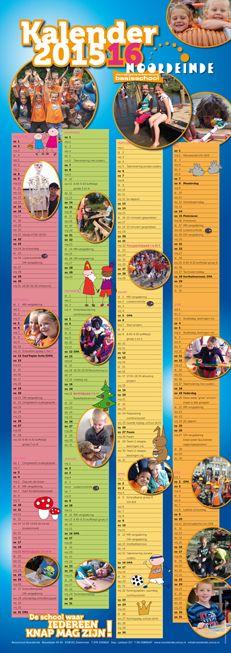 Schoolkalender voor Basisschool Noordeinde uit Zoetermeer 2015 - 2016