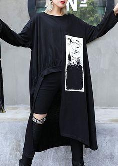Italian black prints Cotton dress asymmetric Midi fall Dress in 2020 Fall Dresses, Cotton Dresses, Tunic Dresses, Edgy Outfits, Classy Outfits, Iranian Women Fashion, Blouse Vintage, Dark Fashion, Black Print