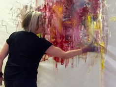 American artist Jeane Myers at work (c.2015) photographed by Susan Faust. via the artist's site