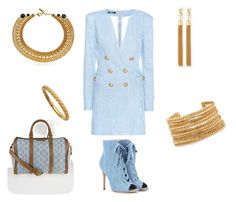 """""""Denim and Chain Affair"""" by kerashawn ❤ liked on Polyvore featuring Balmain, Gianvito Rossi, Yves Saint Laurent, Gucci, Elizabeth Cole, Astley Clarke and Kikijewels"""