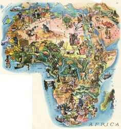 "Love this idea of a map of Africa, busily illustrated with the different icons of each region. More ""fun style"" images though. 1959 illustrated map, Africa"
