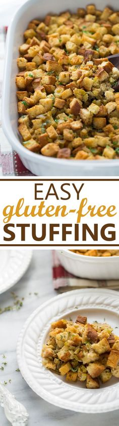 Easy, Gluten-Free Stuffing! Classic stuffing that is better than any boxed stuffing you've ever made!
