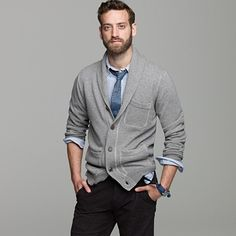 J Crew cotton shawl-collar cardigan.