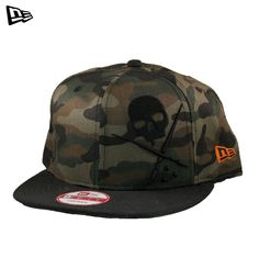 """New Era Snap-back Woodland Hat by Sullen: This cap from Sullen's New Era line features an adjustable snap-back strap so you can adjust the hat to fit your head perfectly. The camo design is perfect for Sullen lovers, paintball players who play woods ball, hunters, and all other camo fans. It features the Sullen badge embroidered on the front, the NE logo in orange on the side, and """"SULLEN"""" in orange on the back. Retail Price: $34.99 #sullen #hat #cap #snapback #camo #camouflage"""
