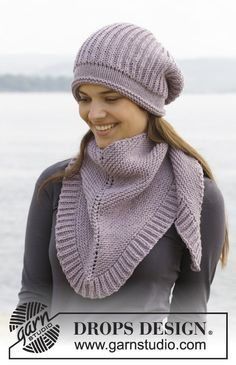 """Knitted DROPS hat and scarf in garter st with English rib in """"Big Merino"""". - Free pattern by DROPS Design Knitting Patterns Free, Knit Patterns, Free Knitting, Free Pattern, Drops Design, Knit Crochet, Crochet Hats, Knitted Shawls, Point Mousse"""