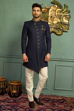 Blue Colour Designer Indowestern   Etsy