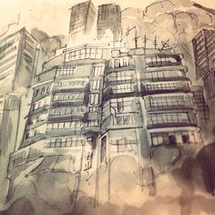 Downtown Hong Kong.. Ink and watercolour