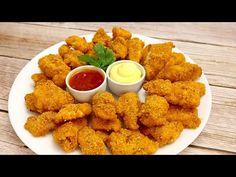 Ψήγματα του κοτόπουλο στο φούρνος. Πολύ γρήγορα είναι γευστικός # 47 - YouTube Duck Recipes, Chicken Recipes, Chicken Meals, Nuggets, Beignets, Party Snacks, Biscotti, Finger Foods, Family Meals