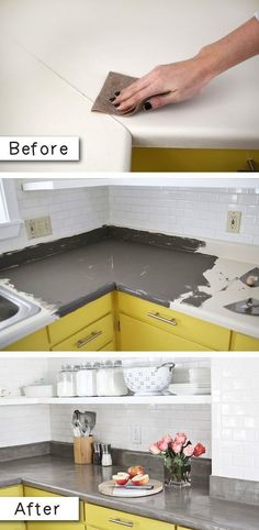 #15. Update laminate countertops with a concrete finish. -- #14. Use Rust-Oleum to paint outdated brass faucets and fixtures! -- 27 Easy Remodeling Projects That Will Completely Transform Your Home