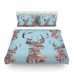 "Suzanne Carter ""Wild And Free"" Blue Brown Cotton Duvet Cover"