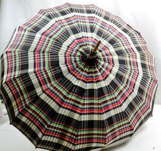 Vintage Plaid Checked Umbrella Bakelite & Wood Handle