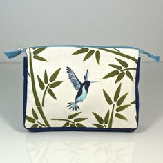 JJ Caprices - Hand Painted Make-up Bag - Hummingbird