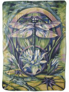 Art comes to life with the Mystery Dragonfly and Flowers Blanket Throw. Designed by popular Northwest artist Jody Bergsma.