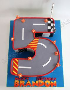 Celebrate with Cake!: Numeral 5 Race Track Cake