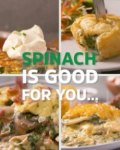Creamy Spinach 4 Ways Who doesn't love creamed spinach? Here are four ways to prepare this Authentic Mexican Recipes, Mexican Food Recipes, Dinner Recipes, Veg Dishes, Vegetable Dishes, Vegetable Recipes, Food Dishes, Healthy Bread Recipes, Vegetarian Recipes
