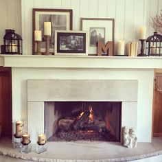 Easy living room fireplace & mantel decorating ideas using flameless LED battery operated candles, tea lights, votives, lanterns and other products to achieve an elegant everyday hearth display & wow your guests. Country House Decor, Fireplace Mantle Decor, Mantle Decor, Living Room With Fireplace, Easy Home Decor, Living Decor, Room Design, Home Decor, Home Decor Accessories