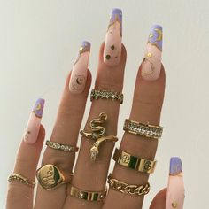 Edgy Nails, Dope Nails, Stylish Nails, Swag Nails, Nail Jewelry, Trendy Jewelry, Cute Jewelry, Gold Nail Designs, Acylic Nails