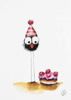 My Birthday Cake Canvas Print / Canvas Art by Lucia Stewart Green Things x trail green color Bird Drawings, Cute Drawings, My Birthday Cake, Happy Birthday, Art Birthday, Watercolor Cards, Watercolor Paintings, Watercolour, Fine Art Amerika
