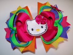 Hello Kitty HK Hair Bow Perfect for Birthday Rainbow by molliepops, $9.99