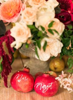 Pomegranate place cards: http://www.stylemepretty.com/2015/07/24/rustic-chic-late-summer-napa-valley-wedding/ | Photography: Josh Gruetzmacher - http://www.joshgruetzmacher.com/