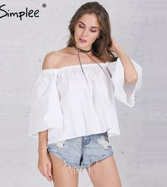 ca0cb8e6698c Simplee Apparel Sexy off shoulder cotton white blouse shirt Summer 16  ruffles girls blouse Women tube