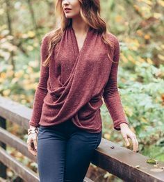 Twist Front Sweater by Jaleh. Made of a lightweight drape.