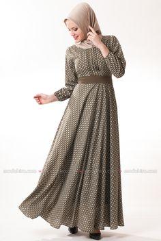 Çiçekli Kışlık Haki Elbise - 1371-02