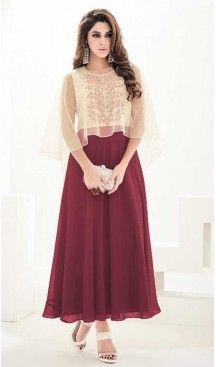 Brick Red Georgette Anarkali Style Party Wear Readymade Kurtis   FH549982325 Follow us @heenastyle  #partywearkurtisheenastyle #partywearkurtis #pakistanikurtionline #kurtis #fashionkurti #designers #fashiontrends #womenkurti #heenastyle