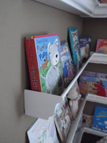 Sunshine on the Inside: Rain gutter bookshelves Floating Bookshelves, Bookshelves Kids, Book Shelves, Gutter Bookshelf, Diy Gutters, Homemade Books, Church Nursery, Book Wall, Kids Room Organization