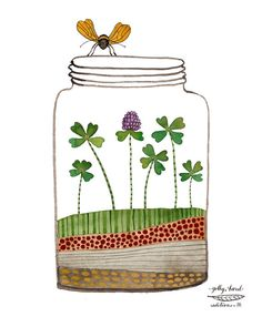 jar of luck  clover shamrock giclee print watercolor reproduction