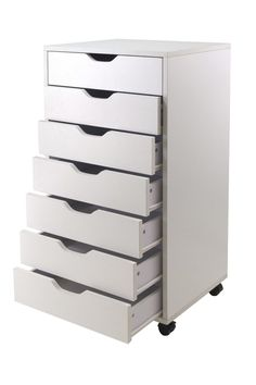 Halifax storage carts feature a multitude of drawers for easily accessible storage in your home office, kitchen, craft room, or a child's room. Optional locking casters to use them with or without cas