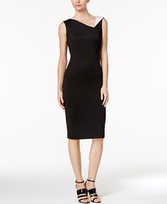 134.00$  Watch now - http://vihwd.justgood.pw/vig/item.php?t=pqnwy3a52487 - Contrast-Collar Sheath Dress 134.00$