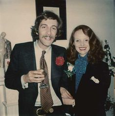 Grace Coddington at her wedding party with former husband fashion photographer Willie Christie in London, 1976